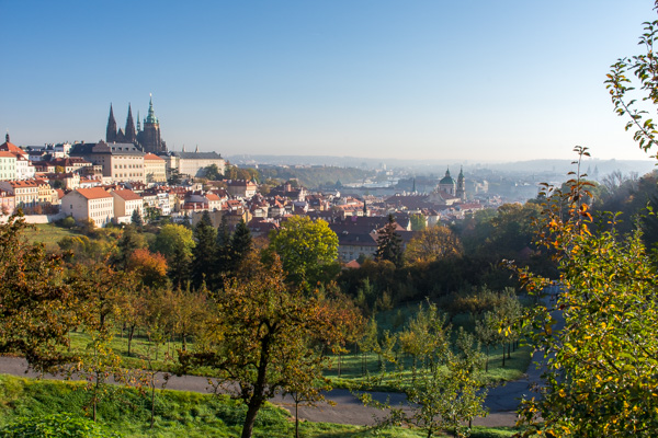 View of Prague castle from Petřín hill